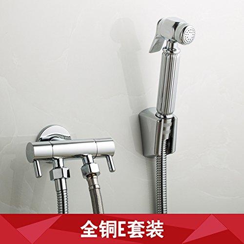 GFEI toutes les toilettes ou d'arrosage ou cuivre main multifonctionnelle pistolet ménages nettoyage,double contrôle,5 pièces,e