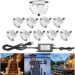 Lot de 10 Spots LED Encastrable Extérieur IP67- Spot pour Terrasse Bois Plafond 1W DC12V Blanc étanche Kit Mini Spot LED Lampe Extérieur pour Jardin,Pisine Blanc Chaud [Classe énergétique A]