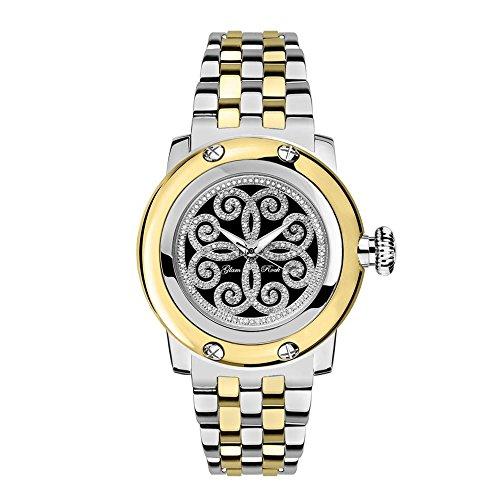 Glam Rock Women's Palm Beach 40mm Two Tone Steel Bracelet Steel Case Quartz Black Dial Watch GR40411