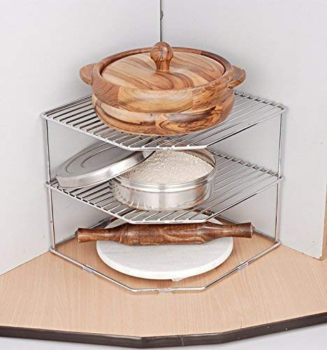 Gehwara Pure Stainless Steel Chakla Belan Corner Kitchen Rack/Utensil Holder/Corner Shelf (30x30x30cm, Silver)