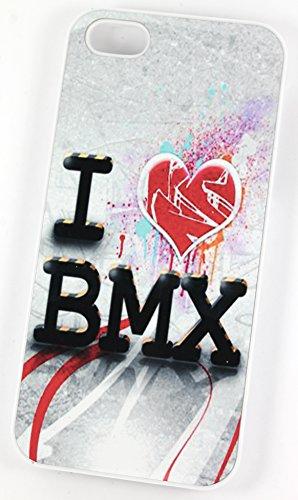 I Love (Cœur) BMX Vélo Cycles (Housse/Etui rigide en plastique pour iPhone 4/4S Blanc