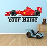 F1 Ferrari Car Personalised Wall Sticker Art Vinyl 100cm (w) x 40cm (h) Tr39