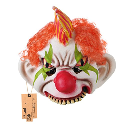 Creepy Requisiten Clown (hyalinität & Dora Halloween Latex Clown Maske mit Haar für Erwachsene, Halloween-Kostüm Party Requisiten)