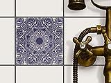 creatisto Fliesenfolie selbstklebend 15x15 cm 1x1 Design Blue Mandala (Grafik & Illustration) Klebefolie Küche Bad