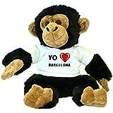 Chimpancé de peluche (juguete) con Amo Barcelona en la camiseta (ciudad / asentamiento)