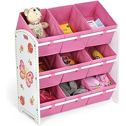 Infantastic – Mueble infantil de madera – modelo 2 (Estantería infantil para juguetes y almacenamiento – 3 niveles con 3 cajones)