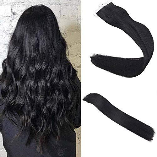 "Easyouth Tape Auf Haar 20"" 100g 40Pcs Pro Paket Farbe #1 Jet Black Kleber in Haarverlängerungen Menschenhaar Vollen Kopf"
