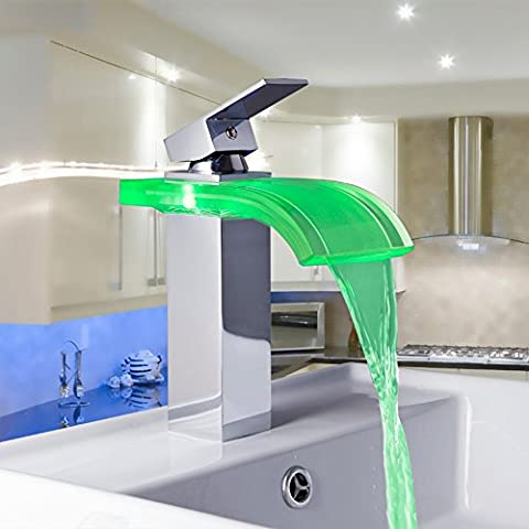 tourmeler Konstruktion & Immobilien LED Farben Farbwechsel Chrom Wasserfall Badezimmer Waschbecken Mixer Wasserhahn Waschbecken Wasserhahn, silber