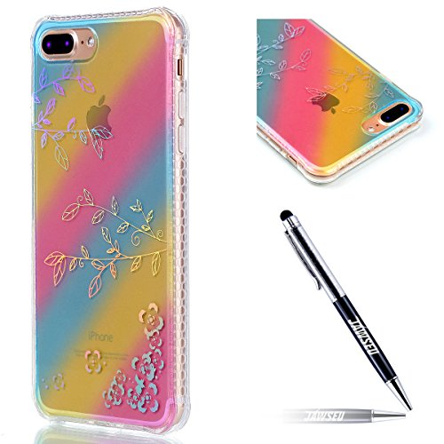 iPhone 7 Plus Custodia, iPhone 7 Plus 5.5 Cover, JAWSEU [Shock-Absorption][Anti Scratch] Protezione Bumper per iPhone 7 Plus Cristallo Trasparente Custodia Cover Case Caso Bella Luminoso Ultra Sottile Colorato Foglia