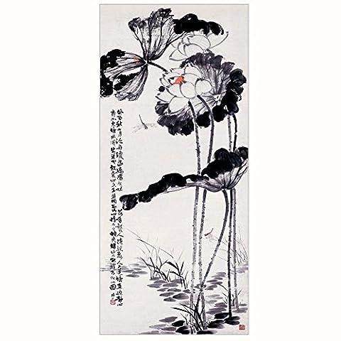 Malerei Seide Chinese Scroll Painting Familie Wohnzimmer Schlafzimmer Dekoration Malerei Tinte Lotus, gute Qualität, einfach, defekte, Kollektion von Geschenken ist die beste Wahl