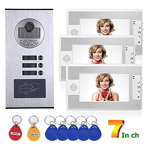 QSBY 7 Zoll 3 Wohnung/Familie Video Tür Telefon Intercom System RFID IR-Cut HD 1000TVL Kamera Türklingel Kamera mit 3 Taste 3 Monitor (Sicherheits-kamera-verdrahtung)