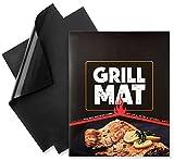 KOBWA BBQ Grill Matten-2er Set Antihaft Grillmatte Zum Grillen und Backen 100% Lebensmittelech Gas-BBQ Grill -