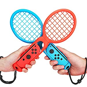MoKo Tennis Racket for Nintendo Switch, 2PCS Nintendo Switch Mario Tennis Aces Game Accessories, Twin Pack Grips for Switch Joy-Con Controller – Red & Blue