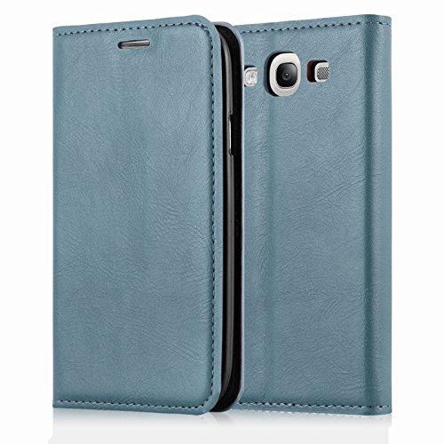 JAMMYLIZARD Custodia Portafoglio per Samsung Galaxy S3 e S3 Neo | Cover a Libro Swiss Wallet Flip Case in Pelle, Blu Ceruleo