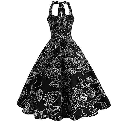 SANFASHION Damen 1950er Vintage Abendkleid Elegant Neckholder Retro Cocktailkleid Faltenrock Kleid...