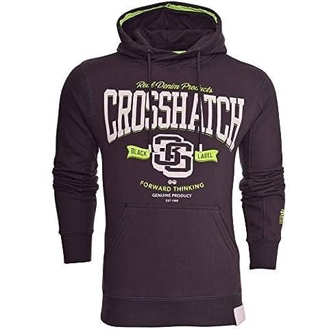 Crosshatch Mens Designer Casual Hooded Logo Top Hoody Fleece Sweatshirt Jacket Small Navy