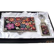Mère de perle violet fleur design arabesque Porte-clés Anneau porte-clés Porte-clés Support en métal Business crédit Nom Carte d'identité Housse de portefeuille Argent