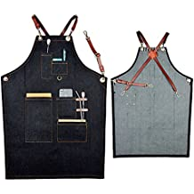 Delantal denim Boshiho para trabajos pesados, ajustable con correas de cuero cruzadas en la espalda, A