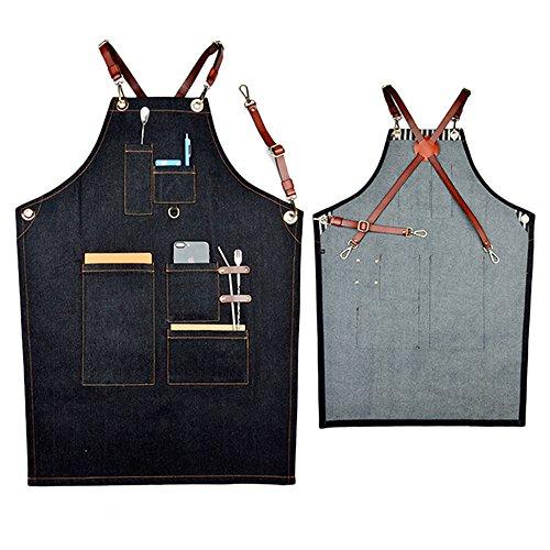 boshiho Denim Jean Arbeit Schürze, verstellbar Shop Schürze Chef Schürze mit Back Träger aus wvr25 (Lehrer Denim)