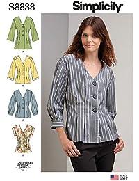 41a21da20b21 Simplicity US8838H5 - Cartamodello per camicia Miss Petite