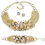 Palm Beach Jewelry 3 x Bezel-Set Crystal + Bead Necklace, Bracelet & Stud Earrings Yellow Gold Tone