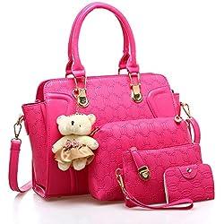 4 piezas Bolso de las mujeres bolsos monederos bolsa de mensajero Bolsas de hombro Paquete de tarjetas (incluir Llavero del oso) (rosa)