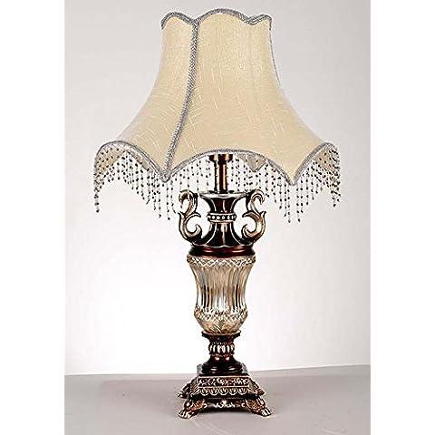 YM@YG Lampada da tavolo di resina retrò europeo oscuramento da letto tessuto la studio desk lamp lampada da tavolo decorativa (37 * 65cm)