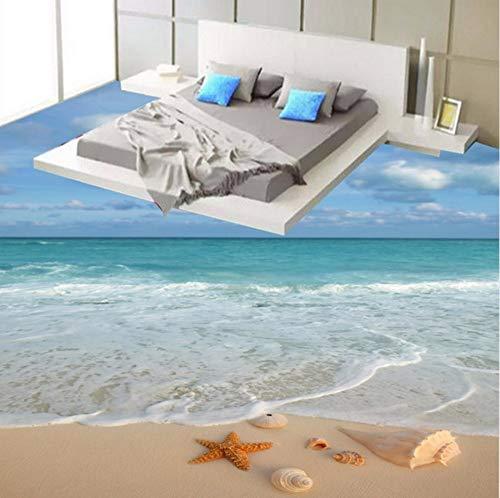 Syssyj Moderne Einfache 3D Stereo Strand Meer Welle Starfish Conch Bodenfliesen Wandbild Tapete Badezimmer Schlafzimmer Pvc Wasserdichte 3 D Bodenbelag-200X140CM - Wasserdicht Meeres Stereo
