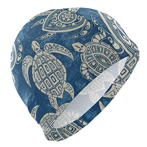 KIMIOE Schwimmhaube Badekappe Unisex Swimming Hat Loggerhead Sea Turtle Swimming Cap Swim Cap 3D Ergonomic Design Big Head Men Women Bathing Cap -