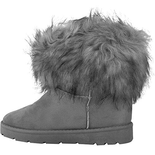Bottines plates à fausse fourrure - hiver - chaud/confortable - femme Faux suède gris/doublure polaire