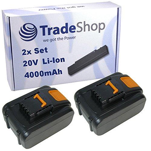 Preisvergleich Produktbild 2x Trade-Shop Premium Li-Ion Akku 20V / 4000mAh / 80Wh ersetzt Worx WA3528, WA3553.2. WA3551.1 für Worx WX372 WX372.1 WX390 WX390.1 WX390.31 WX523 WX523.9 WX678 WX678.9 WX292.9 WG151.5 WG251.5 WG540