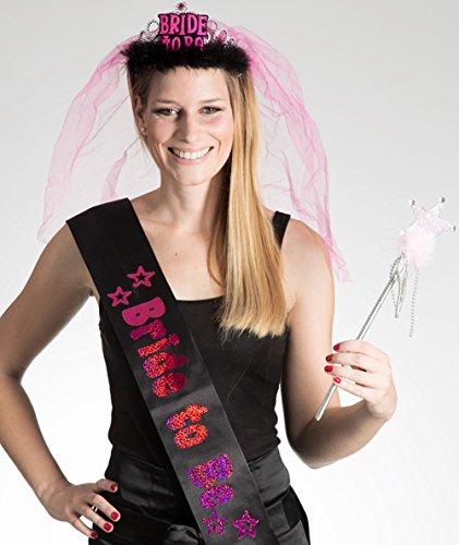 Party-Teufel Set: Tiara mit Brautschleier und Schärpe Aufschrift Bride to Be und Zauberstab Accessoires Junggesellenabschied