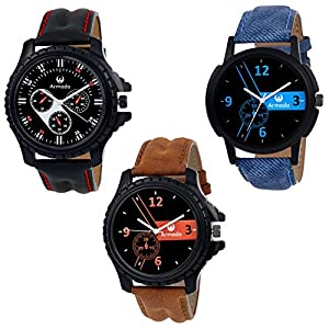 Armado AR-516161-Blu Combo Of 3 Stykish Analog Watch-For Men