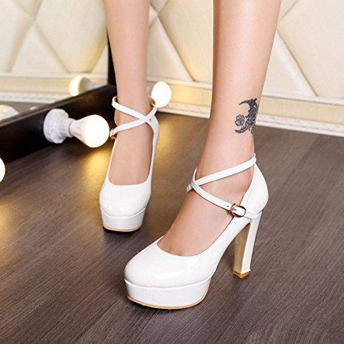 acd0fa099e2b96 ... TAOFFEN Damen Blockabsatz High Heels Plateau Pumps Cross Criss Schuhe  Party Shoes Weiß ...