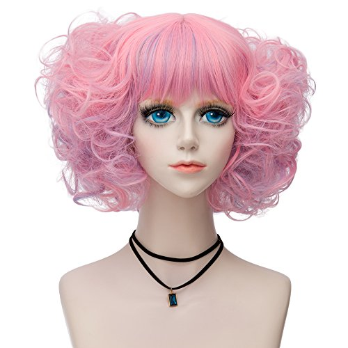 lisanyeu Charming Lady Discoball flach Pony Bob Wave Locken Rosa Cosplay Kostüm Perücke