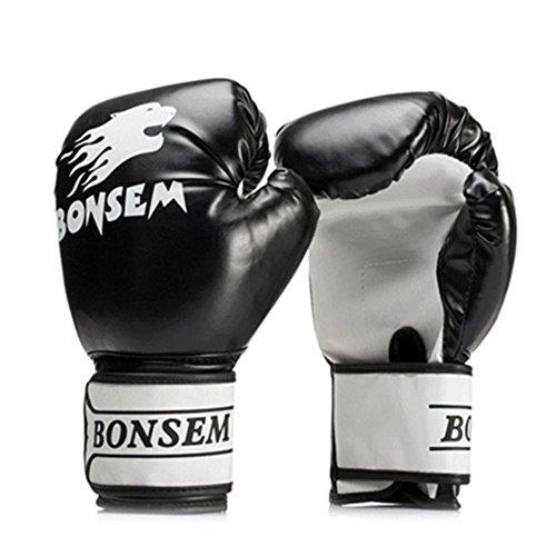 Wovemster Box Handschuhe Boxsack Sparring Training Grappling Leder Gloves for Erwachsene Frauen/Männer(Black) -