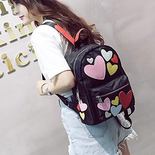 NoNo Boutique, stilvoll, schön, bequem, Lagerung Herz-Muster Doppel Schultern Schultasche Reisetasche Backpackage Freizeittasche Sporttasche bequemer Rucksack Lager (Farbe : Colour) -