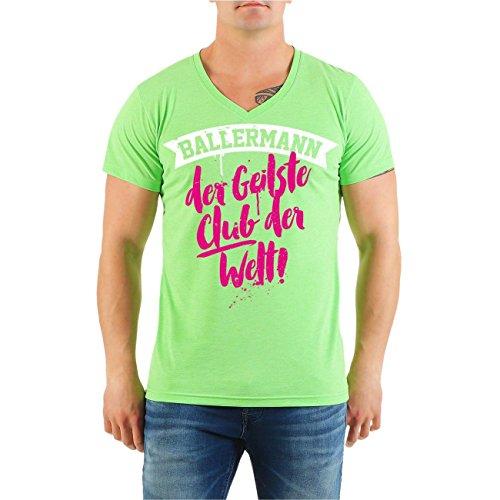 ... 8XL V-Neck limettengrün. Männer und Herren T-Shirt MALLORCA MALLE  BALLERMANN der geilste Club der Welt Größe S