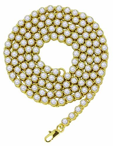 NewAgeBling 1Zeile CZ Kette 14K vergoldet Hip Hop 76,2cm 4mm Halskette (Luxus Kostüm Schmuck Uk)