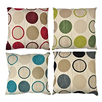 Luxury Chenille Cushion - Modern Dots Case Cover for Bed/Sofa 43.18 cm x 43.18 cm - low-cost UK light shop.