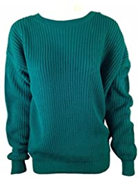Ladies Womens Long Sleeve Chunky Knitted Jumper Top Plus Size