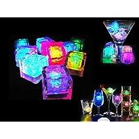 Jzhen 12Pcs Cubitos de Hielo LED Decoración para Bebidas para Fiesta, Boda, Club y Bar ect
