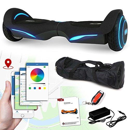 Balance Scooter Vision 800 Watt mit App Funktion, beleuchtete Felgen mit RGB-LED Farbwechsel, Bluetooth Lautsprecher, Kinder Sicherheitsmodus Elektro Self Balance E-Scooter (schwarz)