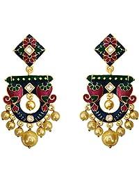 Designer Kundan Meenakari Peacock Shape Gold Plated Blue Brass Jhumki Pearlearrings Fro Women