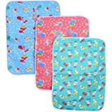 Kidzvilla Baby Waterproof Multipurpose Cotton Foam Cushioned Changing Plastic Mat Bed Protector (0-9 Months) - Pack of 3