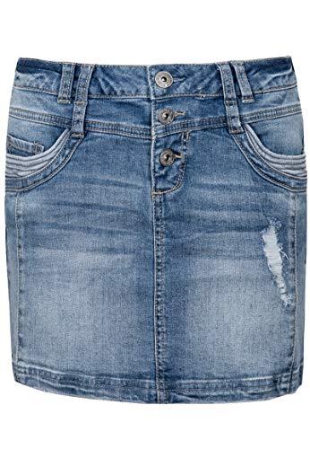 Sublevel Damen Jeans Mini-Rock mit Knöpfen im Used Look Light-Blue S (Jean-mini-rock)