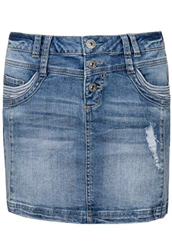 Sublevel Damen Jeans Mini-Rock mit Knöpfen im Used Look Light-Blue M