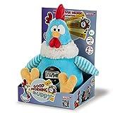 Nici 38469 - Hahn Good Morning Buddy Schlenker mit Weckerfunktion in Geschenkverpackung, 35 cm, blau