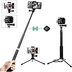 Mpow Bastone Selfie Stick Monopiede Estensibile con Bluetooth Scatto Remoto e Treppiede per per Android, iPhone 8/8 Plus/7/7 Plus