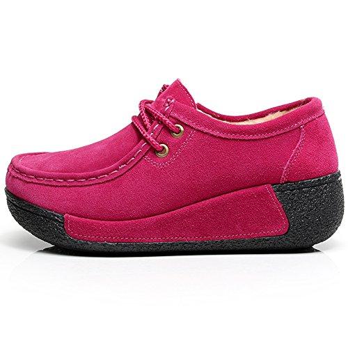 Shenn Donna Scarpe Con Pelliccia Inverno Caldo Piattaforma Tacco Cuneo Scamosciato Sneaker Rosa+Pelliccia
